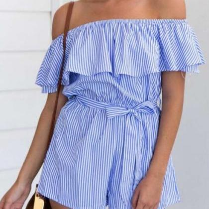 Blue Stripes Ruffled Off-The-Should..