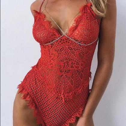 Eyelash Lace Bodysuit Sexy Women La..