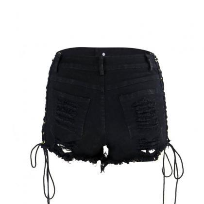 Black Lace Up Ripped Hot Shorts
