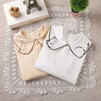 FREE SHIPPING Cute kitty Embroidere..