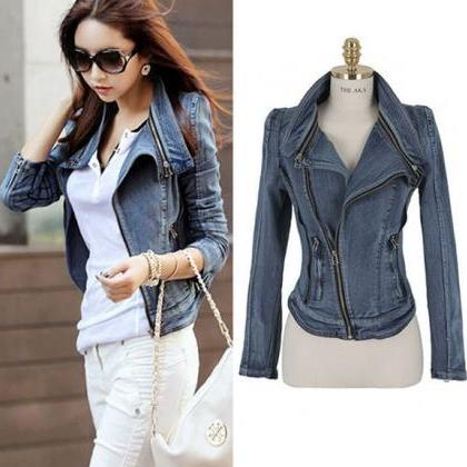FREE SHIPPING Oblique Zip Slim Moto..