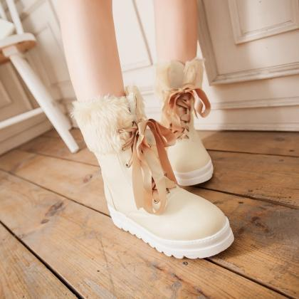 FREE SHIPPING Cute Cream Lace Up Sn..