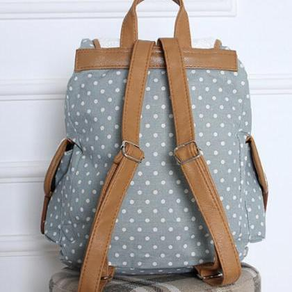 FREE SHIPPING Denim Blue Dot and La..