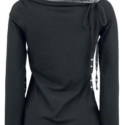 FREE SHIPPING Black Long Sleeve Tur..