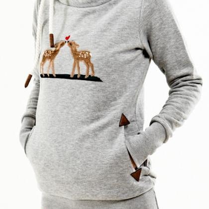 FREE SHIPPING Grey Long Sleeve Deer..