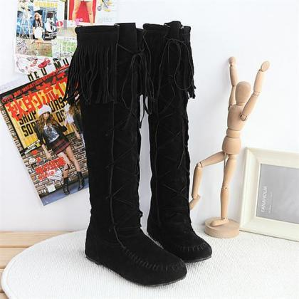 FREE SHIPPING Black Lace Up Tassel ..
