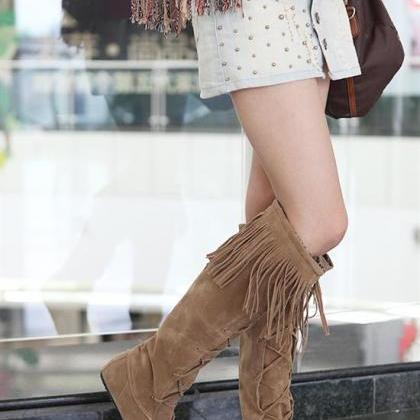 FREE SHIPPING Khaki Lace Up Tassel ..