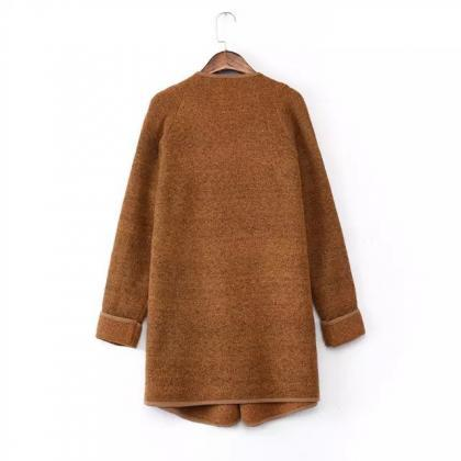 FREE SHIPPING Khaki Lapel Long Slee..