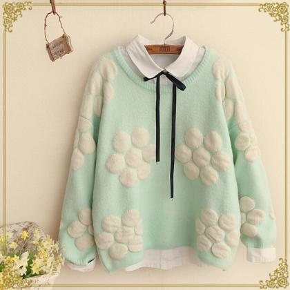 FREE SHIPPING Cute Mint Floral Stit..