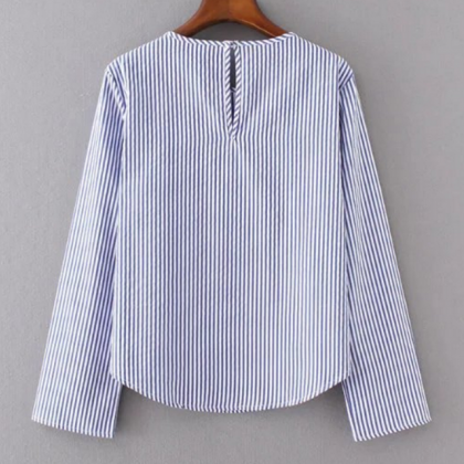 Blue and White Vertical Stripes Lon..