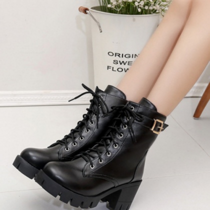 New Fashion Women PU Leather Lace U..