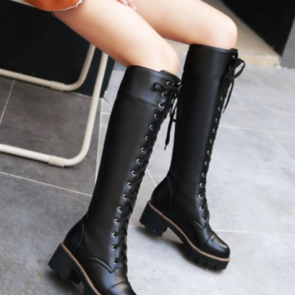 Knee-high Lace-up Boots with Chunky..