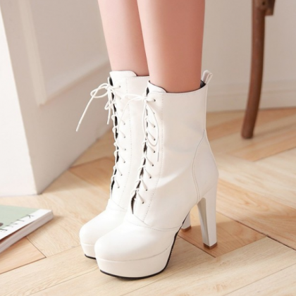 New Fashion Punk Lace Up High Heel ..