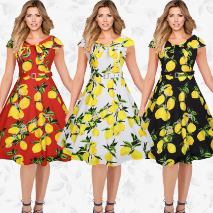 New Fashion Vintage Lemon Printed D..