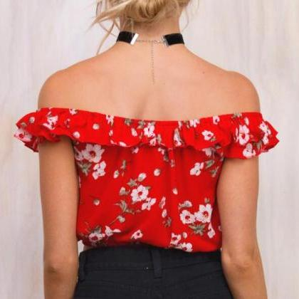 Red Floral Print Off-The-Shoulder L..