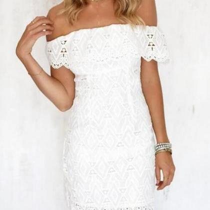 White Lace Cut Out Off The Shoulder..