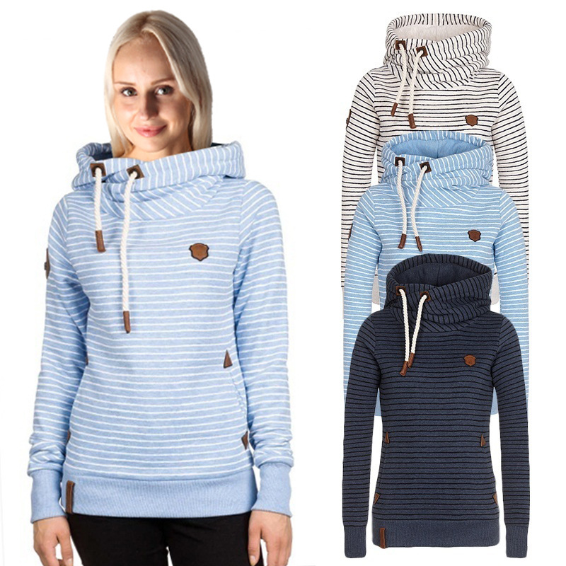 2c1b659a7863 Striped Hoodie Long Sleeve Sweatshirt White Blue Navy on Luulla
