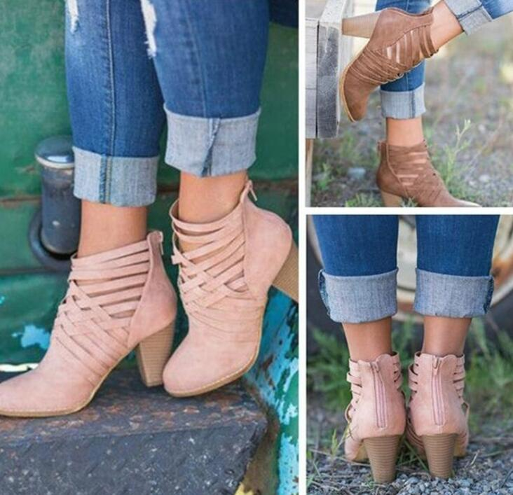 FAST SHIPPING Fall/ Winter Fashion Women Crisscross Strap Heeled Boots Ankle Booties Pink Brown