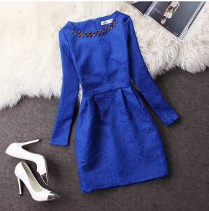 FREE SHIPPING Fall Winter 2016 Elegant Embroidered Bleu Dress