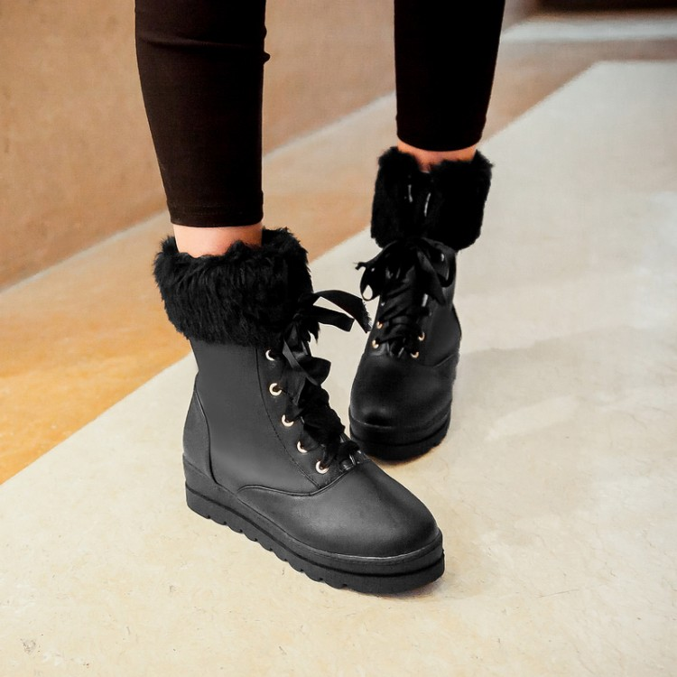 FREE SHIPPING Cute Black Lace Up Snow Boot