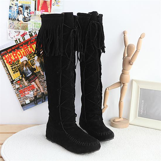 FREE SHIPPING Black Lace Up Tassel Boots