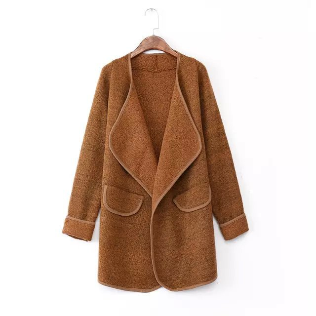FREE SHIPPING Khaki Lapel Long Sleeve Loose Sweater Coat