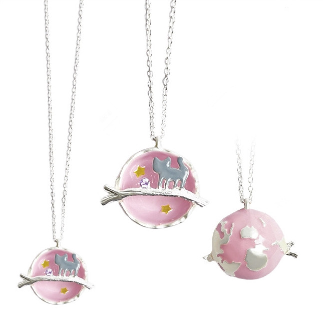 FREE SHIPPING Harajuku Pink Planet Cat Necklace