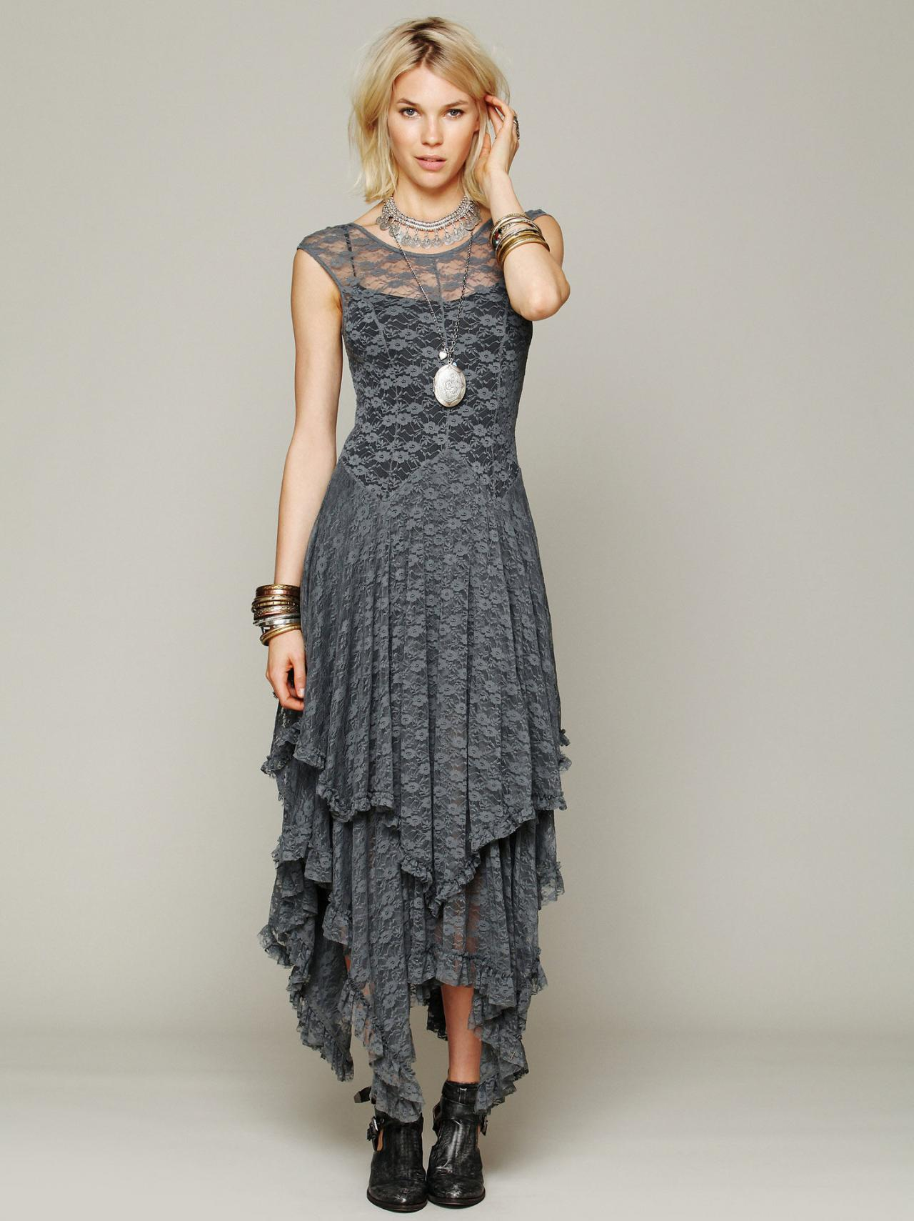 FREE SHIPPING Vintage Grey Asymmetrical Lace Sleeveless Maxi Dress