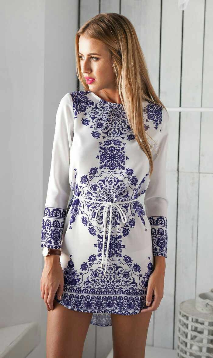 3cffe9959e FREE SHIPPING Blue And White Porcelain Prints Long Sleeve Dress on ...