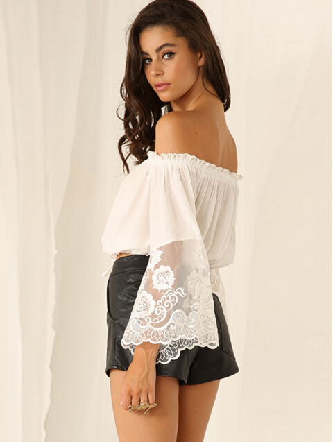 0e79c3bf4bc White Off-The-Shoulder Crop Top With Lace Bell Sleeves on Luulla