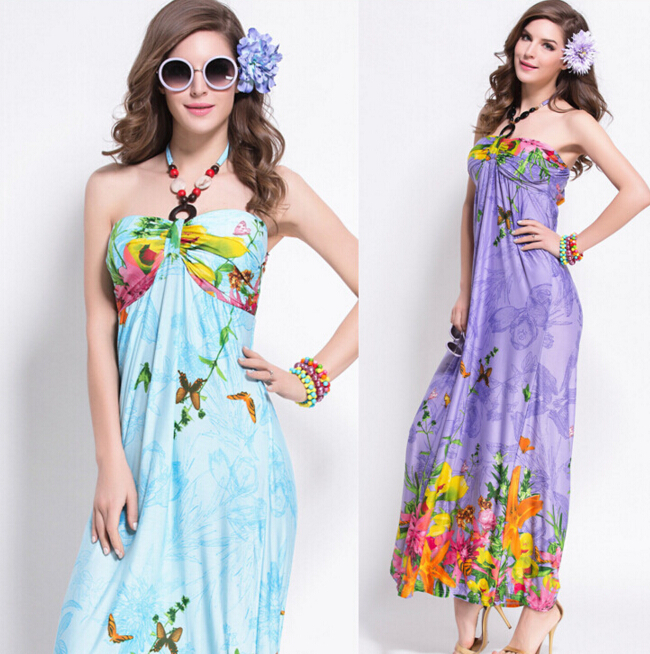 FAST SHIPPING 2016 New Bohemia Halter Butterfly Floral Prints Maxi Dress, Beach Dress