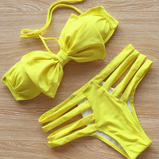 FAST SHIPPING New Women Halter BIikini Sets Yellow Bow Swimsuit Two Pieces Bikini