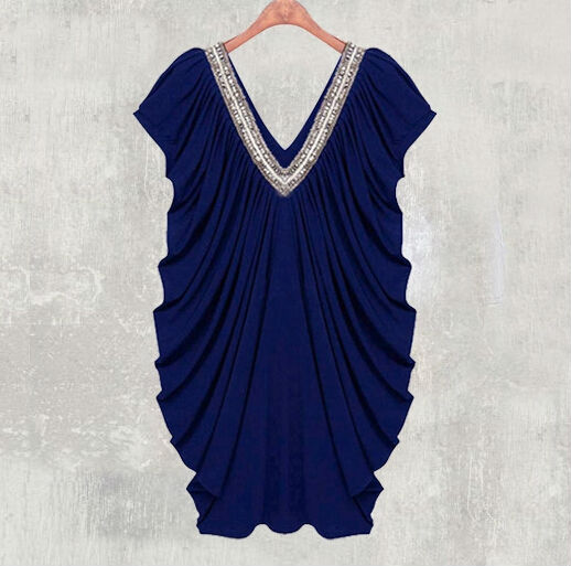 FAST SHIPPING Sexy Women's V-Neck Beading Party Dress Loose Fashion Loose Fit Dress