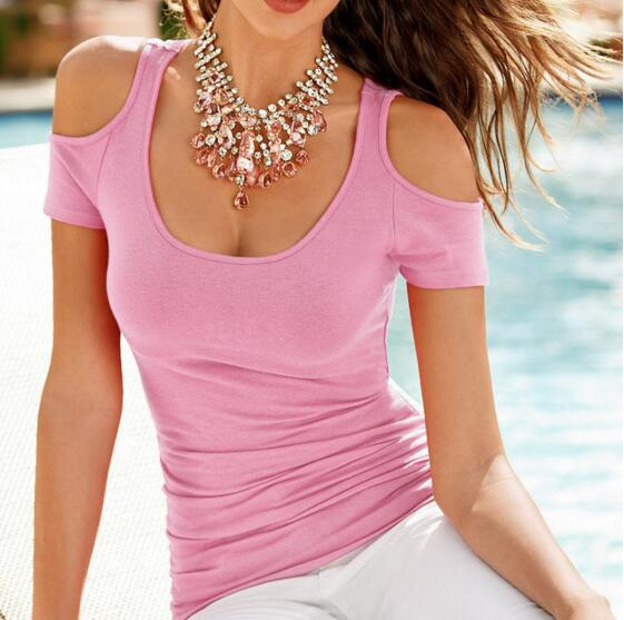 New Women's Summer Fashion Casual Pink Cold-shoulder T-Shirt Top
