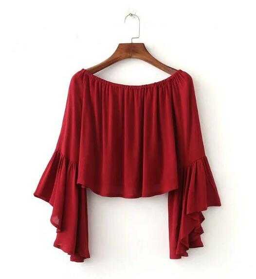 Off-the-shoulder Cropped Top with Flared Sleeves