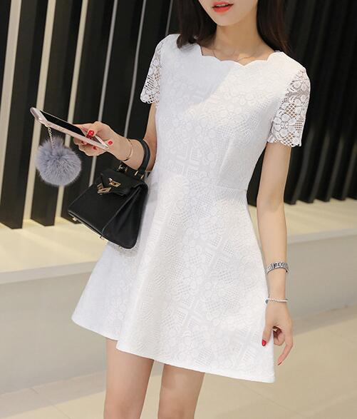 New Fashion Women's Fit And Flare Lace Dress In White