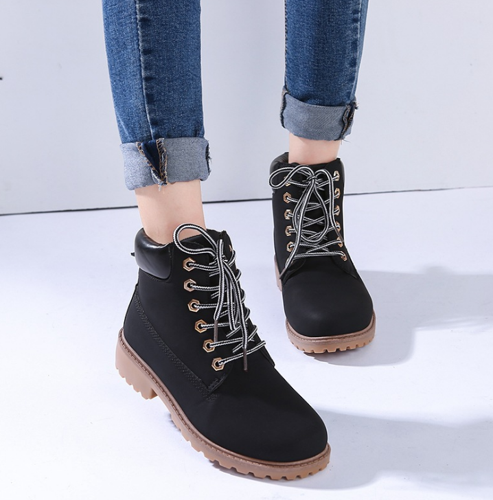 FAST SHIPPING Fall/ Winter 2016 Fashion Women Black Lace Up Martin Boots Ankle Booties