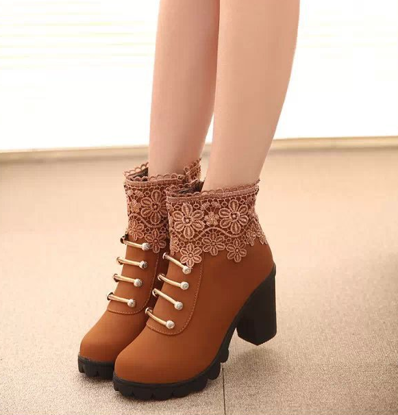 FAST SHIPPING Fall/ Winter 2016 Fashion Women Brown Lace Splicing High Heel Martin Boots Ankle Booties