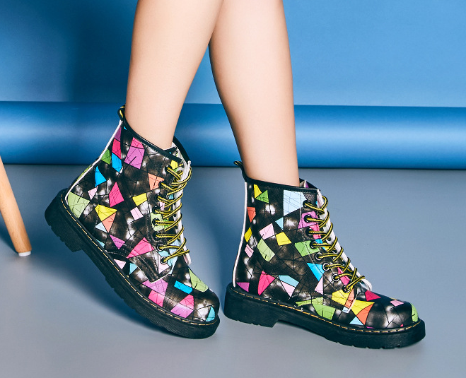 FAST SHIPPING Fall/ Winter 2016 Harajuku Fashion Women Black Geometric Lace Up High Heel Martin Boots Ankle Booties