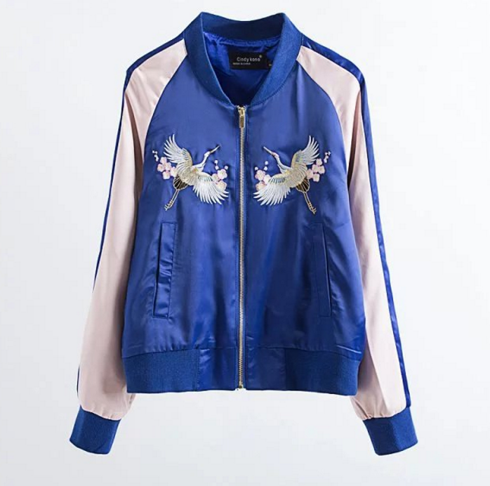 New Fall/Winter Women Blue Zipper Up Floral Embroidery Bomber Jacket Casual Baseball Jacket Coat