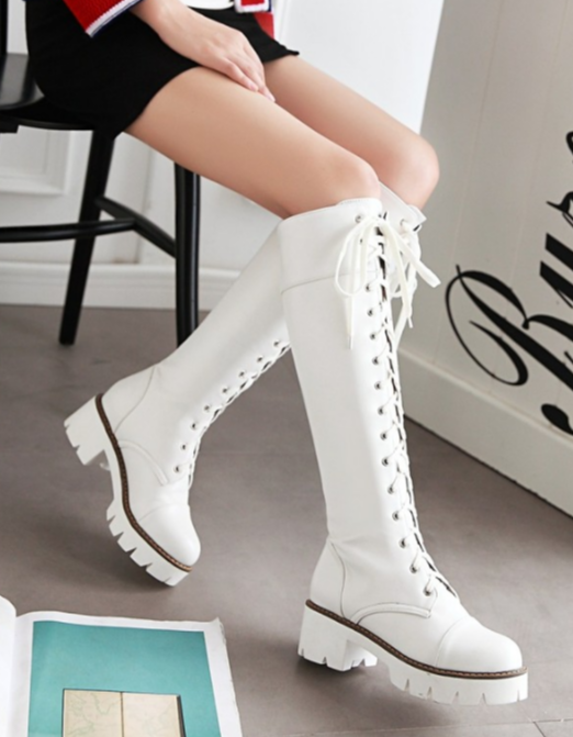 Knee-high Lace-up Boots with Chunky Heels