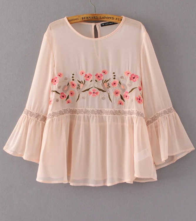 Pink Floral Embroidered Blouse with Flared Sleeves and Ruffle Bottom