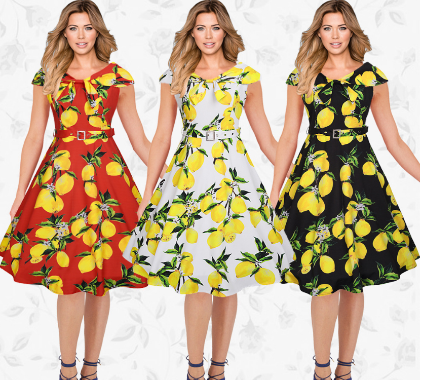 New Fashion Vintage Lemon Printed Dress Women Sleeveless Dress White Black Red