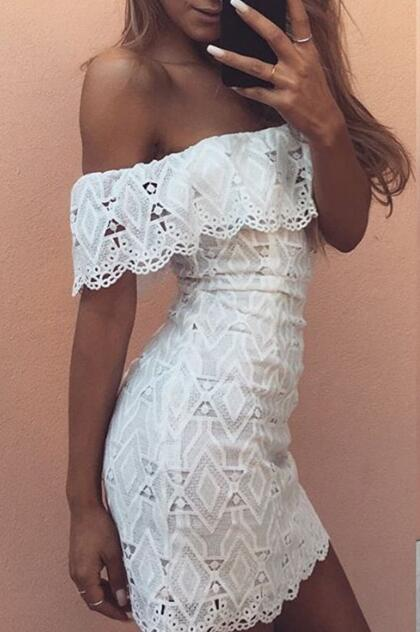 White Lace Cut Out Off The Shoulder Dress Sexy Women Bodycon Party Dress