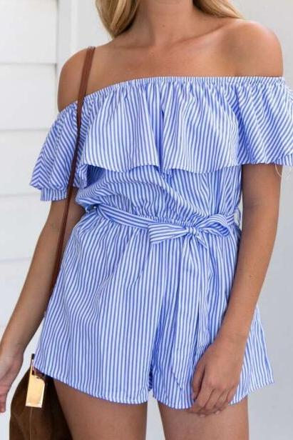 Blue Stripes Ruffled Off-The-Shoulder Short Romper With Belt