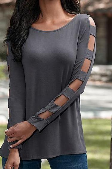 Cut-out Long Sleeved T-Shirt Grey Tunic Tee