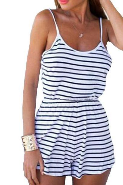 Black and White Striped Strappy Romper Featuring Open Back
