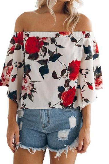 Floral Printed Off The Shoulder Top Fashion Women Summer Blouse White Blue