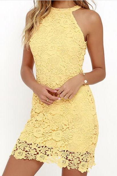 Floral Lace Appliquéd Halter Neck Short Bodycon Dress in Yellow or Red