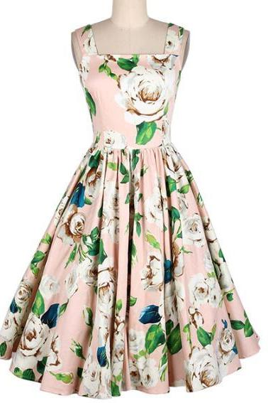 Floral Printed Sleeveless Dress Vintage Fit And Flare